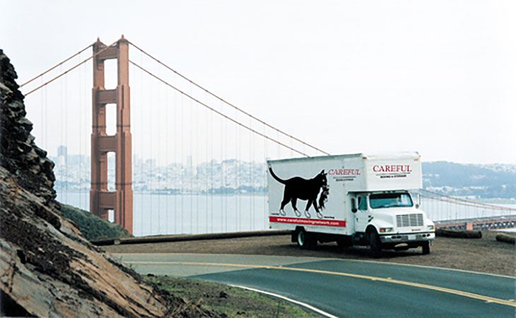 truck and golden gate bridge